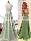 A-line V-neck Satin Sweep Train Beading Prom Dresses #Favs020102215