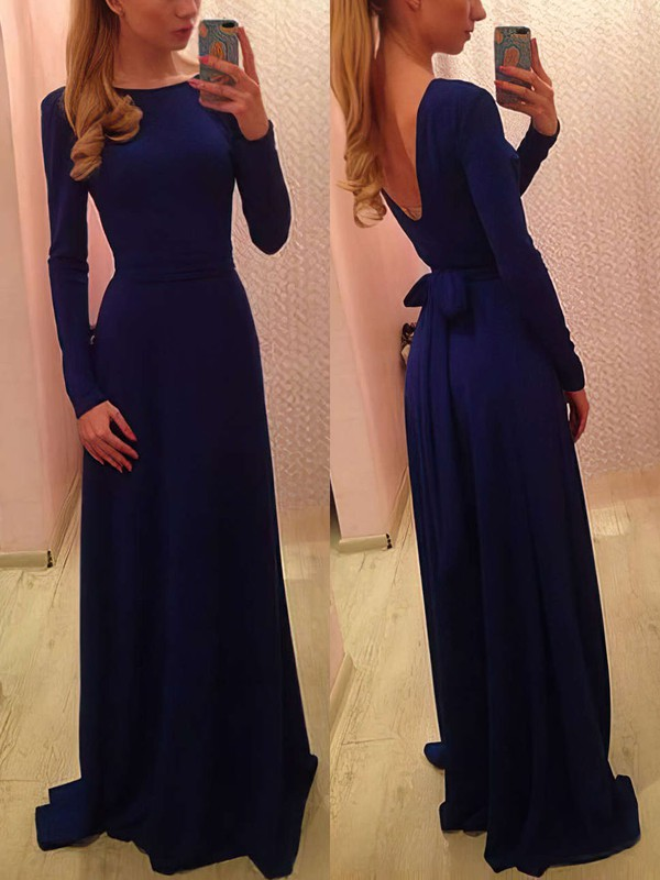 Long Sleeve Scoop Neck Silk-like Satin with Sashes / Ribbons Prom Dress #Favs02018955