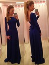 A-line Scoop Neck Floor-length Silk-like Satin Prom Dresses with Sashes Ruffle #Favs02018955