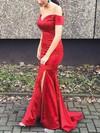 Trumpet/Mermaid Off-the-shoulder Satin Sweep Train Split Front Prom Dresses #Favs020102887