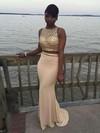 Sheath/Column Scoop Neck Jersey Sweep Train Beading Prom Dresses #Favs020103281