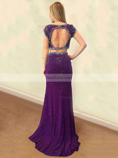 Trumpet/Mermaid Scoop Neck Sweep Train Silk-like Satin Prom Dresses with Beading Split Front #Favs020103324