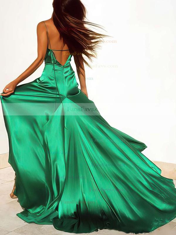 Sheath/Column V-neck Sweep Train Silk-like Satin Prom Dresses with Split Front #Favs020103771
