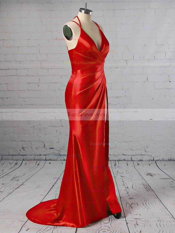 Sheath/Column V-neck Silk-like Satin Sweep Train Split Front Prom Dresses #Favs020103771