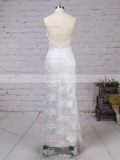 Sheath/Column V-neck Floor-length Tulle Prom Dresses with Appliques Lace Split Front #Favs020103652