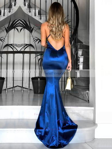 Trumpet/Mermaid V-neck Silk-like Satin Sweep Train Ruffles Prom Dresses #Favs020104819