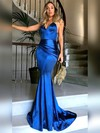 Trumpet/Mermaid V-neck Sweep Train Silk-like Satin Prom Dresses with Ruffle #Favs020104819