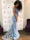 Trumpet/Mermaid Off-the-shoulder Jersey Sweep Train Appliques Lace Prom Dresses #Favs020104920