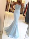 Trumpet/Mermaid V-neck Sweep Train Silk-like Satin Prom Dresses with Beading Sashes #Favs020104979