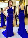 Sheath/Column V-neck Silk-like Satin Sweep Train Beading Prom Dresses #Favs020105030
