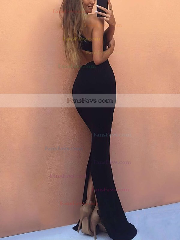 Trumpet/Mermaid High Neck Jersey Floor-length Split Front Prom Dresses #Favs020105246
