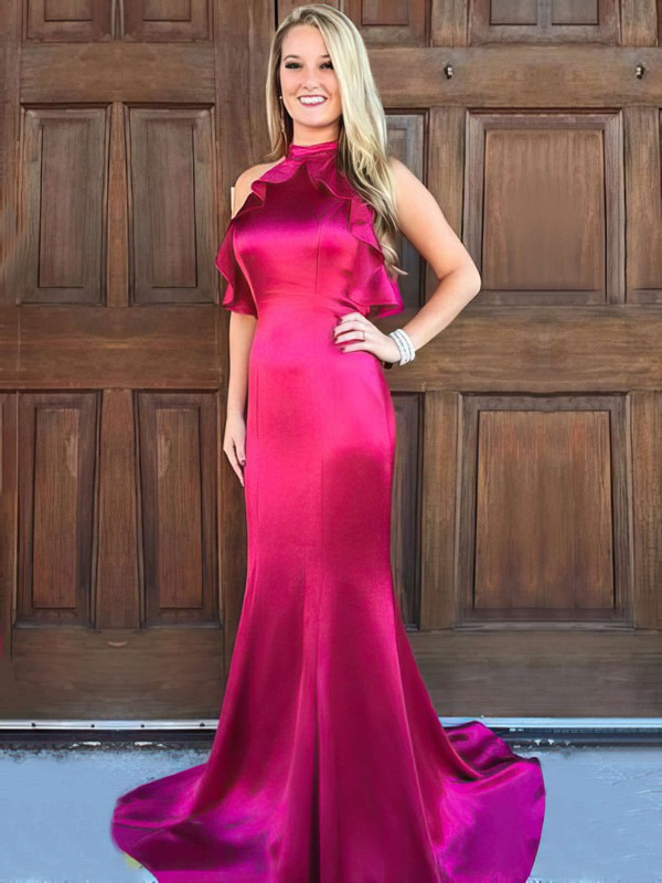 Trumpet/Mermaid High Neck Sweep Train Silk-like Satin Prom Dresses with Ruffle #Favs020105306