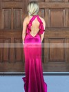 Trumpet/Mermaid High Neck Silk-like Satin Sweep Train Ruffles Prom Dresses #Favs020105306