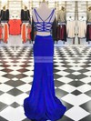 Sheath/Column V-neck Jersey Sweep Train Split Front Prom Dresses #Favs020105317