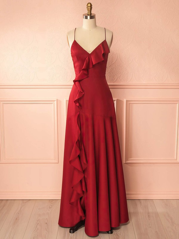 A-line V-neck Silk-like Satin Floor-length Ruffles Prom Dresses #Favs020105324