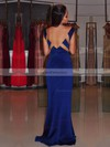 Sheath/Column V-neck Silk-like Satin Sweep Train Beading Prom Dresses #Favs020105343