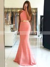 Trumpet/Mermaid Scoop Neck Sweep Train Silk-like Satin Prom Dresses with Sashes #Favs020105507