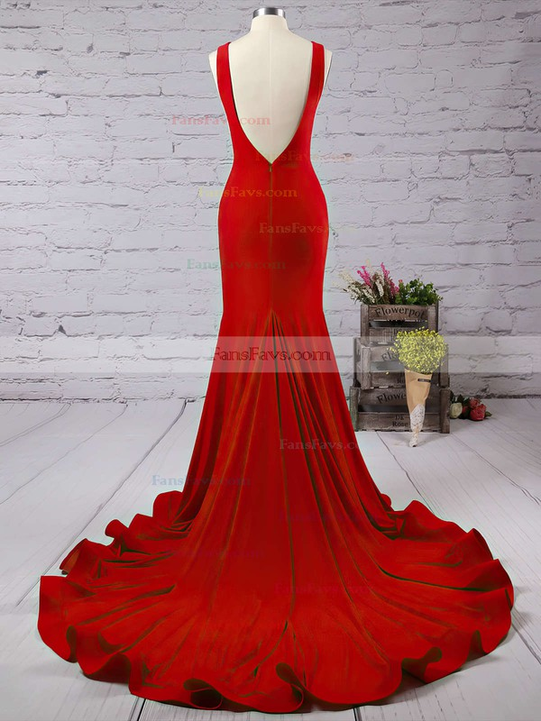 Trumpet/Mermaid Scoop Neck Court Train Jersey Prom Dresses with Ruffle #Favs020103588