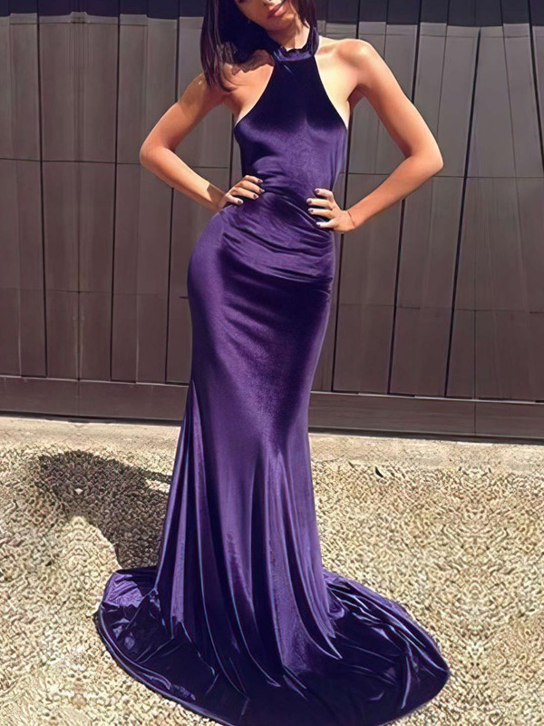 Trumpet/Mermaid Halter Sweep Train Silk-like Satin Prom Dresses #Favs020105556