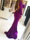 Trumpet/Mermaid Scoop Neck Jersey Sweep Train Beading Prom Dresses #Favs020105582
