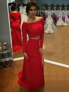 Sheath/Column Off-the-shoulder Silk-like Satin Sweep Train Beading Prom Dresses #Favs020105600