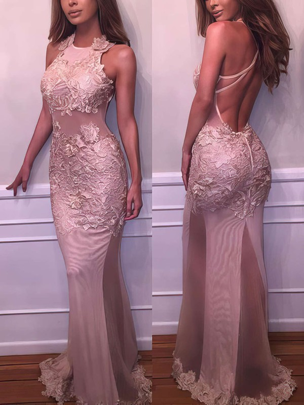 Trumpet/Mermaid Scoop Neck Floor-length Tulle Prom Dresses with Appliques Lace #Favs020103669