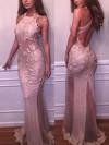 Trumpet/Mermaid Scoop Neck Tulle Floor-length Appliques Lace Prom Dresses #Favs020103669