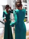 Sheath/Column V-neck Silk-like Satin Floor-length Split Front Prom Dresses #Favs020105627