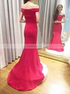 Trumpet/Mermaid Off-the-shoulder Silk-like Satin Sweep Train Split Front Prom Dresses #Favs020105709