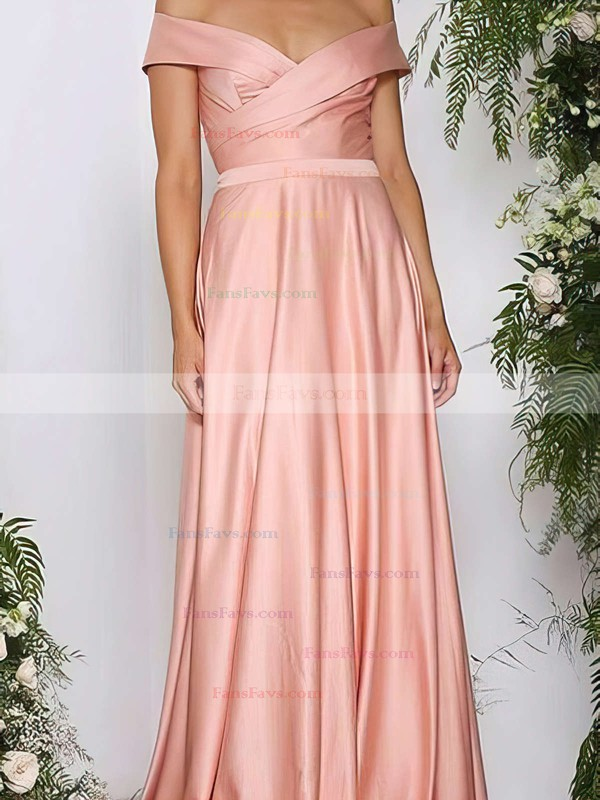 A-line Off-the-shoulder Silk-like Satin Sweep Train Ruffles Prom Dresses #Favs020105737