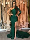 Trumpet/Mermaid One Shoulder Sweep Train Silk-like Satin Prom Dresses with Split Front #Favs020105746