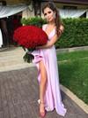 A-line V-neck Silk-like Satin Sweep Train Split Front Prom Dresses #Favs020105752