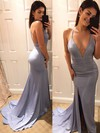 Trumpet/Mermaid V-neck Silk-like Satin Sweep Train Split Front Prom Dresses #Favs020105753