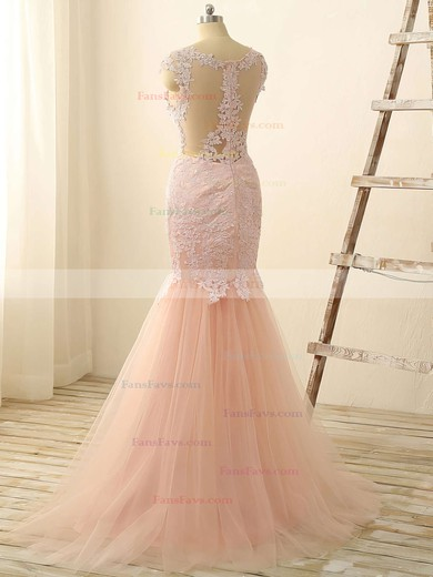 Trumpet/Mermaid Scoop Neck Floor-length Tulle Prom Dresses with Appliques Lace #Favs020101832
