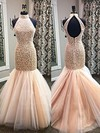 Trumpet/Mermaid High Neck Tulle Sweep Train Pearl Detailing Prom Dresses #Favs020101846