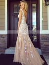 Trumpet/Mermaid Scoop Neck Tulle Sweep Train Appliques Lace Prom Dresses #Favs020102164