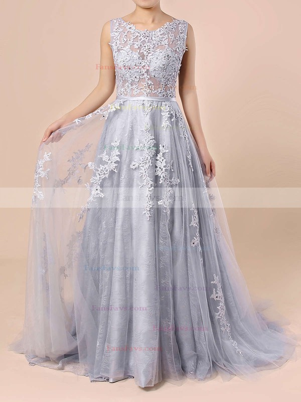 Ball Gown Scoop Neck Sweep Train Tulle Prom Dresses with Appliques Lace Sashes #Favs020103746