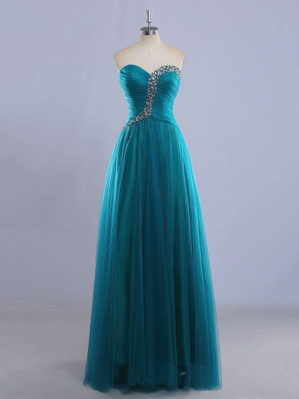 A-line Sweetheart Floor-length Tulle Prom Dresses with Beading Ruffle #Favs020102225