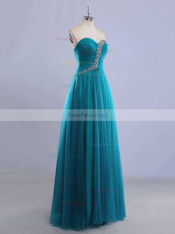 A-line Sweetheart Tulle Floor-length Beading Prom Dresses #Favs020102225