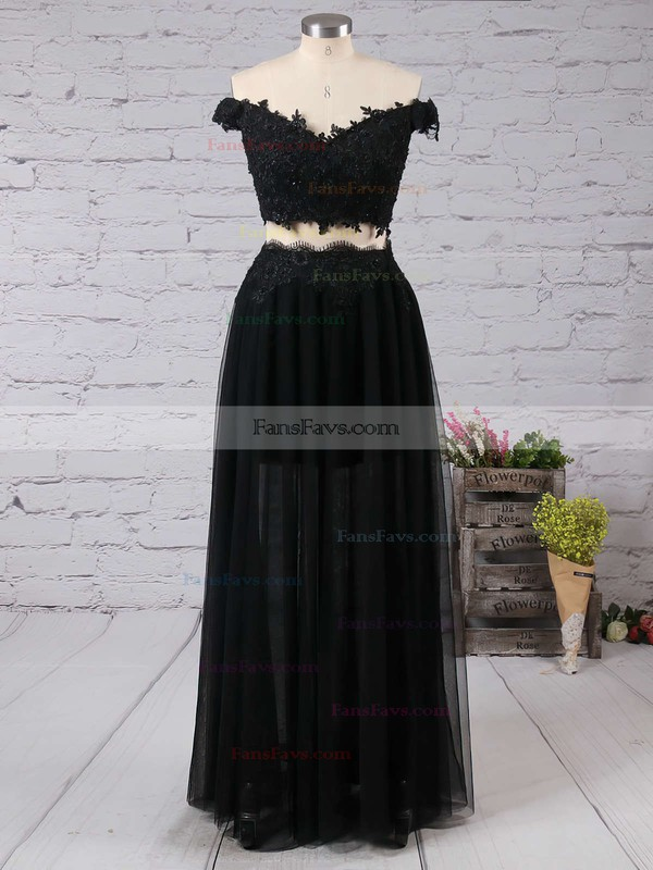 Popular Black Tulle Two Piece Off-the-shoulder Long Prom Dresses #Favs02019106