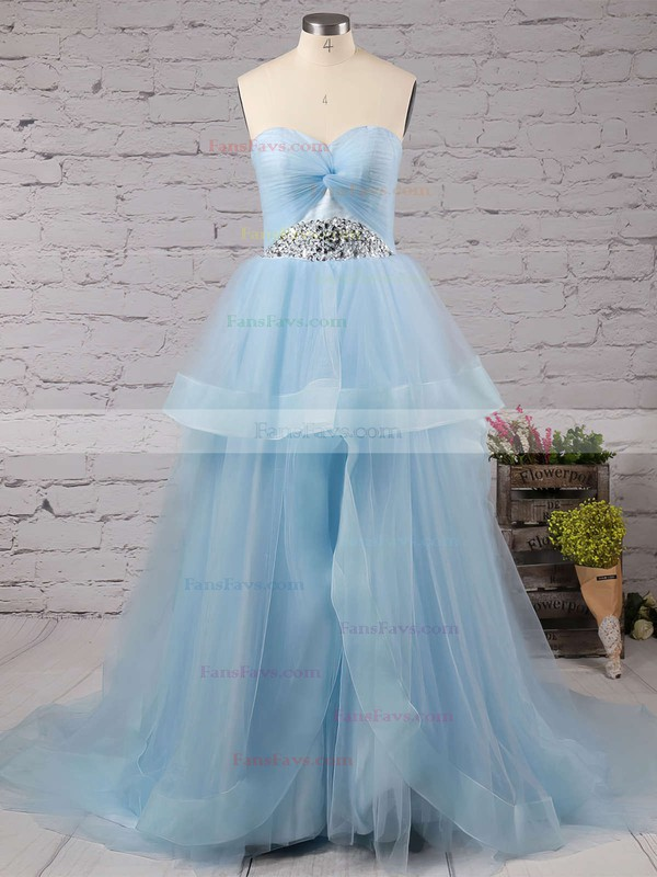 Princess Sweetheart Tulle Court Train Beading Prom Dresses #Favs020102403