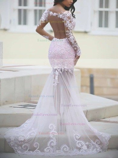 Trumpet/Mermaid Scoop Neck Sweep Train Tulle Prom Dresses with Appliques Lace Sequins #Favs020102452