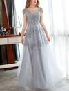 A-line Scoop Neck Tulle Floor-length Appliques Lace Prom Dresses #Favs020102900