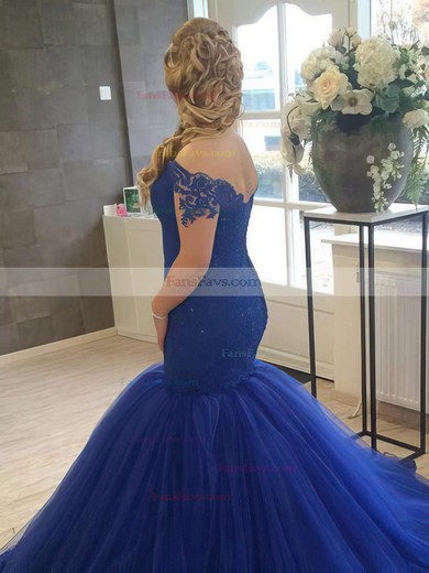 Trumpet/Mermaid Off-the-shoulder Tulle Court Train Appliques Lace Prom Dresses #Favs020102915
