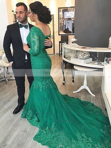 Trumpet/Mermaid V-neck Court Train Tulle Prom Dresses with Appliques Lace Sequins #Favs020102918