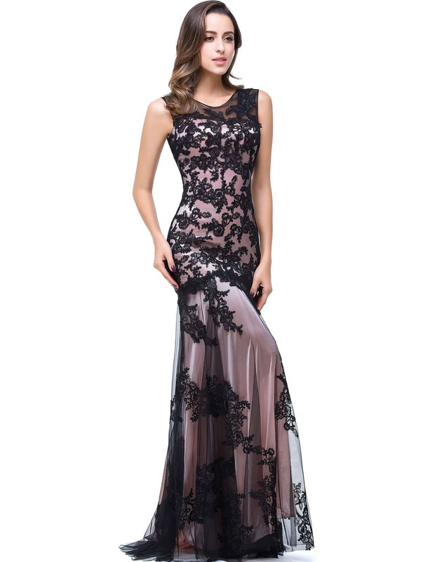Trumpet/Mermaid Scoop Neck Tulle Sweep Train Appliques Lace Prom Dresses #Favs020104144