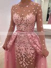A-line Scoop Neck Tulle Detachable Appliques Lace Prom Dresses #Favs020102927