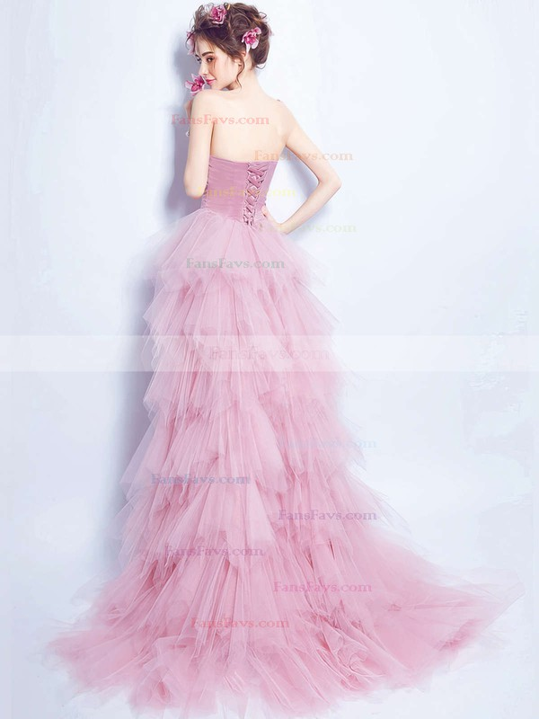 A-line Sweetheart Tulle Asymmetrical Beading Prom Dresses #Favs020103147