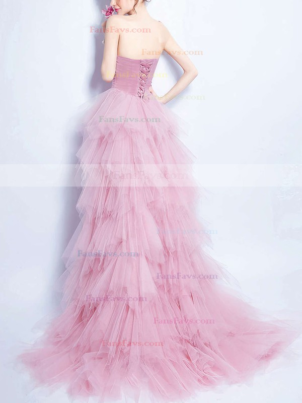 A-line Sweetheart Asymmetrical Tulle Prom Dresses with Beading Ruffle #Favs020103147