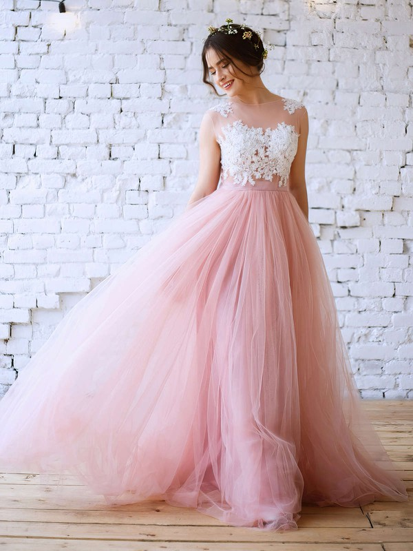 Princess Scoop Neck Tulle Floor-length Appliques Lace Prom Dresses #Favs020103231
